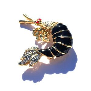 Jewelry - Vintage Jeweled Shrimp Decorative Brooch